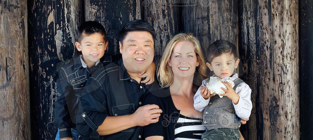 18 November 2012: Eddie, Michelle, Preston (5) and Austin (3) Lee in Newport Beach, CA.