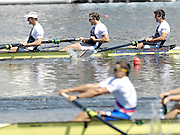 Poznan, POLAND, GBR M4- left to right, Peter REED, Steve WILLIAMS and Tom JAMES,  Final Men's four, at the 2008 FISA World Cup. Rowing Regatta. Malta Rowing Course on Sunday, 22/06/2008. [Mandatory Credit:  Peter SPURRIER / Intersport Images] Rowing Course:Malta Rowing Course, Poznan, POLAND