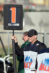 """17 November 2012:  Larry Rottunda holds the """"down box"""" as a chain gang official during an NCAA Missouri Valley Football Conference football game between the North Dakota State Bison and the Illinois State Redbirds at Hancock Stadium in Normal IL"""
