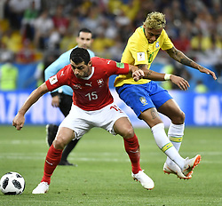 ROSTOV-ON-DON, June 17, 2018  Blerim Dzemaili (L) of Switzerland vies with Neymar of Brazil during a group E match between Brazil and Switzerland at the 2018 FIFA World Cup in Rostov-on-Don, Russia, June 17, 2018. (Credit Image: © Chen Yichen/Xinhua via ZUMA Wire)