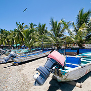 Fishing boats on the shore at Playa Principal at Zihuatanejo, Mexico