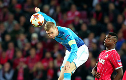 Per Mertesacker of Arsenal heads the ball - Mandatory by-line: Robbie Stephenson/JMP - 23/11/2017 - FOOTBALL - RheinEnergieSTADION - Cologne,  - Cologne v Arsenal - UEFA Europa League Group H