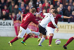 Linlithgow Rose Blair Batchelor and Raith Rovers Grant Anderson.<br /> Half time : Linlithgow Rose 0 v 0 Raith Rovers, William Hill Scottish Cup Third Round game player today at Prestonfield.