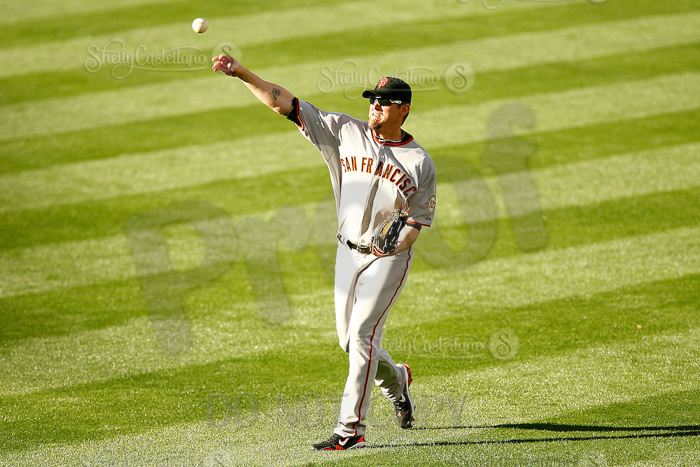 31 March 2011: Right fielder #17 AUbrey Huff throws the ball to the infield as the San Francisco Giants were defeated 2-1 by the Los Angeles Dodgers  during a sold out game at Dodger Stadium in Los Angeles, California on opening day..***** Editorial Use Only *****