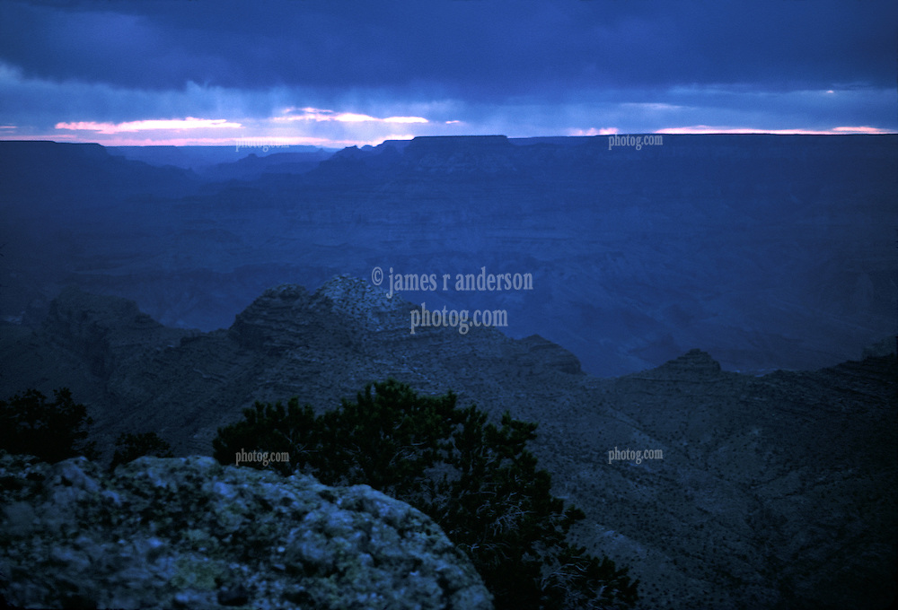 Blue Twilight at Grand Canyon, South Rim. 7:45 MST, Nikon Ftn Camera, 35mm f/2 lens, 1 sec. f/2.8, Kodachrome II