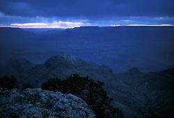 Blue Twilight at Grand Canyon, South Rim. 7:45 MST, Nikon Ftn Camera, 35mm f/2 lens, 1 sec. f/2.8, Kodachrome II
