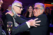 VIDAL SASSOON; RONNI SASSOON; ROBERTO CAVALLI, Dinner and party  to celebrate the launch of the new Cavalli Store at the Battersea Power station. London. 17 September 2011. <br /> <br />  , -DO NOT ARCHIVE-© Copyright Photograph by Dafydd Jones. 248 Clapham Rd. London SW9 0PZ. Tel 0207 820 0771. www.dafjones.com.