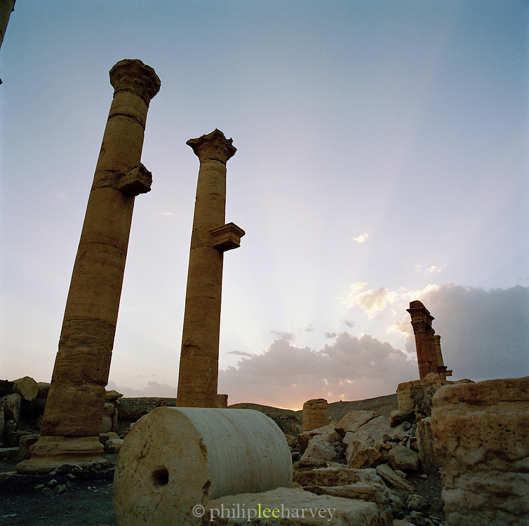 Sunrise at the Roman ruins in the ancient city of Palmyra, Syria