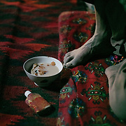 Breakfast, a Bowl of milk and bread.  The traditional life of the Wakhi people, in the Wakhan corridor, amongst the Pamir mountains.