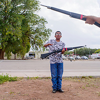Deshaun Desmond practices rifle throws during the Grants High School Marine Corps ROTC training at Grants High School Wednesday.