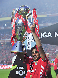 LISBON, May 14, 2017  Benfica's Salvio holds up the trophy to celebrate after the Portuguese League football match between SL Benfica and Vitoria Guimaraes SC in Lisbon on May 13, 2017. Benfica won 5-0. (Credit Image: © Zhang Liyun/Xinhua via ZUMA Wire)