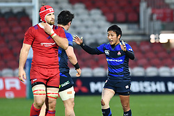 Japan celebrate at the final whistle after a narrow win over Russia<br /> <br /> Photographer Craig Thomas<br /> <br /> Japan v Russia<br /> <br /> World Copyright ©  2018 Replay images. All rights reserved. 15 Foundry Road, Risca, Newport, NP11 6AL - Tel: +44 (0) 7557115724 - craig@replayimages.co.uk - www.replayimages.co.uk