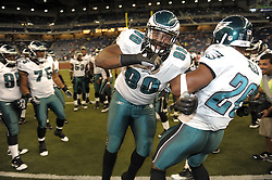 DETROIT - SEPTEMBER 19: Defensive tackle Antonio Dixon #90 of the Philadelphia Eagles gets pumped before the game against the Detroit Lions on September 19, 2010 at Ford Field in Detroit, Michigan. (Photo by Drew Hallowell/Getty Images)  *** Local Caption *** Antonio Dixon