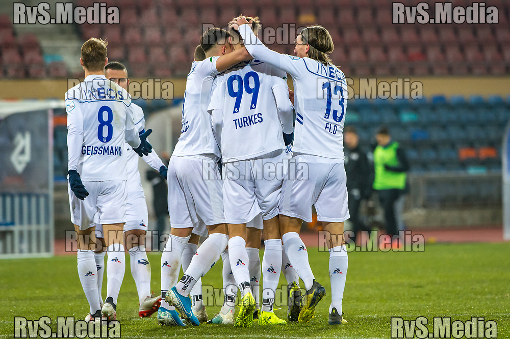 LAUSANNE, SWITZERLAND - NOVEMBER 22: #99 Aldin Turkes of FC Lausanne-Sport celebrates with his teammates after scoring a goal during the Challenge League game between FC Lausanne-Sport and FC Wil at Stade Olympique de la Pontaise on November 22, 2019 in Lausanne, Switzerland. (Photo by Robert Hradil/RvS.Media)