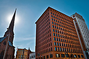 """SHOT 10/20/17 11:46:48 AM - The Guaranty Building, now called the Prudential Building, is an early skyscraper in Buffalo, New York. It was completed in 1896 and was designed by Louis Sullivan and Dankmar Adler.<br /> Sullivan's design for the building was based on his belief that """"form follows function"""". He and Adler divided the building into four zones. The basement was the mechanical and utility area. Since this level was below ground, it did not show on the face of the building. The next zone was the ground-floor zone which was the public areas for street-facing shops, public entrances and lobbies. The third zone was the office floors with identical office cells clustered around the central elevator shafts. The final zone was the terminating zone, consisting of elevator equipment, utilities and a few offices. The supporting steel structure of the building was embellished with terra cotta blocks. Buffalo, N.Y. is the second most populous city in the state of New York and is located in Western New York on the eastern shores of Lake Erie and at the head of the Niagara River. By 1900, Buffalo was the 8th largest city in the country, and went on to become a major railroad hub, the largest grain-milling center in the country and the home of the largest steel-making operation in the world. The latter part of the 20th Century saw a reversal of fortunes: by the year 1990 the city had fallen back below its 1900 population levels. (Photo by Marc Piscotty / © 2017)"""