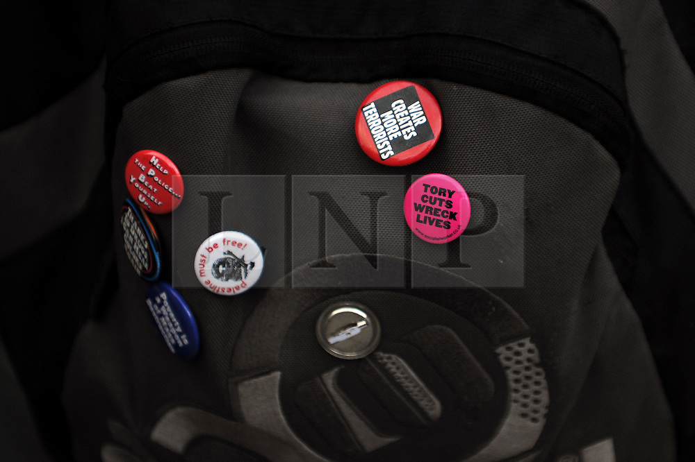 © London News Pictures. 2011/01/19 Detail of a students bag. A rally and march in central London, UK, today (Wed) held by students on the day MPs are to vote on a Labour call for a rethink of the government's decision to scrap the Education Maintenance Allowance for low-income students. Picture credit should read Stephen Simpson/LNP