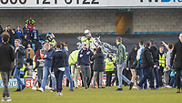 Football - 2016 / 2017 FA Cup - Fifth Round: Millwall vs. Leicester City <br /> <br /> Police horses are used to separate fans at the final whistle at The Den<br /> <br /> COLORSPORT/DANIEL BEARHAM