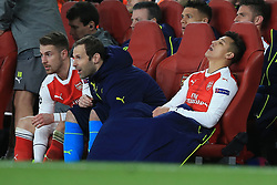 7 March 2017 - UEFA Champions League - (Round of 16) - Arsenal v Bayern Munich - Alexis Sanchez of Arsenal reacts after taking a seat in the dugout - Photo: Marc Atkins / Offside.