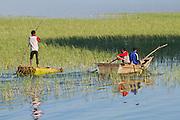 Africa, Ethiopia, Children fish in the river