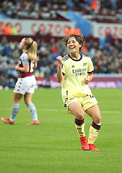 Arsenal's Mana Iwabuchi celebrates after scoring her sides second goal of the game during the FA Women's Super League match at Villa Park, Birmingham. Picture date: Saturday October 2, 2021.