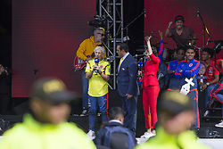 July 5, 2018 - Coach Jose Pekerman and the players welcome the Colombian soccer team in the city of Bogotà (Credit Image: © Daniel AndréS GarzóN Heraz via ZUMA Wire)