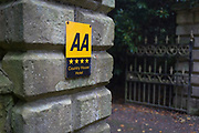 A detail of a generic AA (the Automobile Association motoring organisation) sign at the entrance of a Northumbrian 4-star-awarded rural country hotel, on 26th September 2017, in Eshott, Northumberland, England.