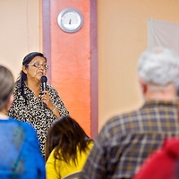 120612       Cable Hoover<br /> <br /> University of New Mexico associate professor Jennifer Denetdale speaks to a crowd during a lecture at the Rainbow Center in Gallup Thursday.