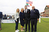 Caolan Rafferty (GB&I) with family during the Official Opening of the Walker Cup, Royal Liverpool Golf CLub, Hoylake, Cheshire, England. 06/09/2019.<br /> Picture Thos Caffrey / Golffile.ie<br /> <br /> All photo usage must carry mandatory copyright credit (© Golffile | Thos Caffrey)