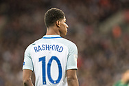 England (10) Marcus Rashford during the FIFA World Cup Qualifier match between England and Slovenia at Wembley Stadium, London, England on 5 October 2017. Photo by Sebastian Frej.