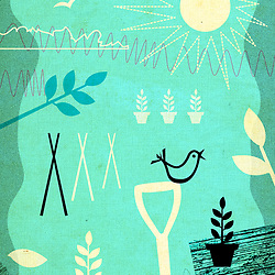 Mid Century Retro Gardening illustration by Hedvig Desh in textured green aged finish with birds, bird perched on spade handle, flower pots, sun, leaves and flowers