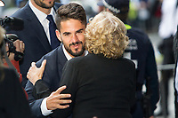 Real Madrid CF player, Isco Alarcon and the Mayor of Madrid, Manuela Carmena during the Real Madrid CF reception at Madrid city hall after winning the Champions League May 29,2016. (ALTERPHOTOS/Rodrigo Jimenez)