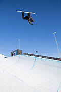 Russian-born Swiss pro snowboarder Louri Podladtchikov huge backside air during the 2017 Laax Open halfpipe competition on 19th January 2017 in Laax, Switzerland. The Laax Open is a FIS Snowboarding World Championship competition in Laax.