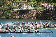 "Rio de Janeiro, BRAZIL, Final Men's Eights top GBR celebrate winning the final.  2016 Olympic Rowing Regatta. Lagoa Stadium,<br /> Copacabana,  ""Olympic Summer Games""<br /> Rodrigo de Freitas Lagoon, Lagoa.   Saturday  13/08/2016 <br /> <br /> [Mandatory Credit; Peter SPURRIER/Intersport Images]<br /> <br /> GBR M8+, Crew, Bow Scott DURANT, Tom RANSLEY, Andrew T HODGE, Matt GOTREL, Pete REED, Paul BENNETT, Matt LANGRIDGE, stroke William SATCH and Cox Phelan HILL,"