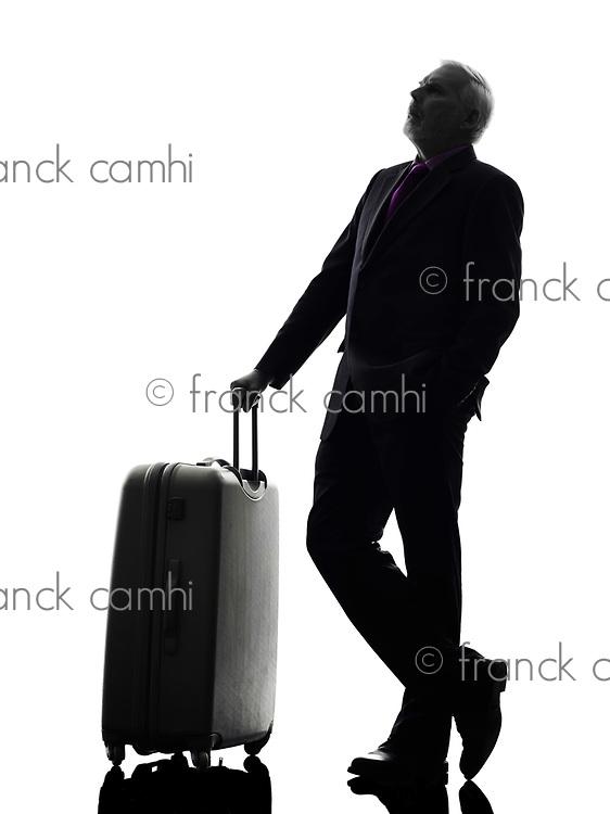 One Caucasian Senior Business Man Silhouette White Background