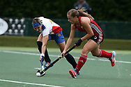 Natasha Marke-Jones of Wales ® and Margarita Drepenkina of Russia. Wales v Russia, semi final,  EuroHockey 11 Women's championshp 2017 in Cardiff, South Wales , Friday 11th August 2017<br /> pic by Andrew Orchard