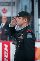 REGINA, SK - MAY 20: Military salute  at the Brandt Centre on May 20, 2018 in Regina, Canada. (Photo by Marissa Baecker/CHL Images)