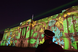 A Rainforest design is projected on to Buckingham Palace in London as part of the Queen's Commonwealth Canopy project (QCC), a global conservation initiative in the Queen's name which seeks to preserve precious areas of forest for future generations.