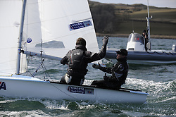 Day 1 of the RYA Youth National Championships 2013 held at Largs Sailing Club, Scotland from the 31st March - 5th April. ..54482, Callum AIRLIE, Joe BUTTERWORTH, ELYC Celebrate their win..For Further Information Contact..Matt Carter.Racing Communications Officer.Royal Yachting Association.M: 07769 505203.E: matt.carter@rya.org.uk ..Image Credit Marc Turner / RYA..