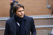 Chelsea Manager Antonio Conte arrives at the stadium. Premier league match, Burnley v Chelsea at Turf Moor in Burnley, Lancs on Sunday 12th February 2017.<br /> pic by Chris Stading, Andrew Orchard Sports Photography.