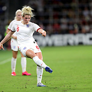 England defender Millie Bright (6) passes the ball during the first match of the 2020 She Believes Cup soccer tournament at Exploria Stadium on 5 March 2020 in Orlando, Florida USA.