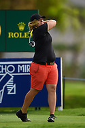Caroline Hedwall (SWE) watches her tee shot on 18 during round 1 of the 2020 ANA Inspiration, Mission Hills C.C., Rancho Mirage, California, USA. 9/10/2020.<br /> Picture: Golffile | Ken Murray<br /> <br /> All photo usage must carry mandatory copyright credit (© Golffile | Ken Murray)