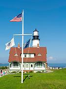 View of the Portland Head Lighthouse, near Portland, Maine, USA.