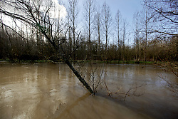 12 March 2020. River Canche near Montreuil Sur Mer, Pas de Calais, France.<br /> Following months of record rainfalls, the Canche River near Montreuil Sur Mer burst its banks flooding local homes and farmland.<br /> Photo©; Charlie Varley/varleypix.com