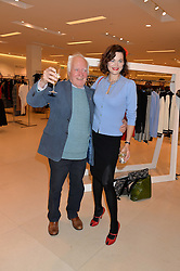 JASMINE GUINNESS with her grandfather DESMOND GUINNESS at the launch of the 'Jasmine for Jaeger' fashion collection by Jasmine Guinness for fashion label Jaeger held at Fenwick's, Bond Street, London on 9th September 2015.
