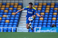 AFC Wimbledon defender Nesta Guinness-Walker (18) controlling the ball in mid air during the EFL Sky Bet League 1 match between AFC Wimbledon and Hull City at Plough Lane, London, United Kingdom on 27 February 2021.