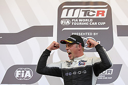 June 24, 2018 - Vila Real, Vila Real, Portugal - Thed Bjork from Sweden in Hyundai i30 N TCR of MRacing - YMR celebrating after winning Race 3 of FIA WTCR 2018 World Touring Car Cup Race of Portugal, Vila Real, June 24, 2018. (Credit Image: © Dpi/NurPhoto via ZUMA Press)