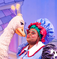 Mother Goose <br /> at the Hackney Empire, London, Great Britain <br /> press photocall<br /> 20th November 2014 <br /> Alix Ross as Priscilla (the Goose) <br /> Clive Rowe as Mother Goose <br /> <br /> <br /> Photograph by Elliott Franks <br /> Image licensed to Elliott Franks Photography Services