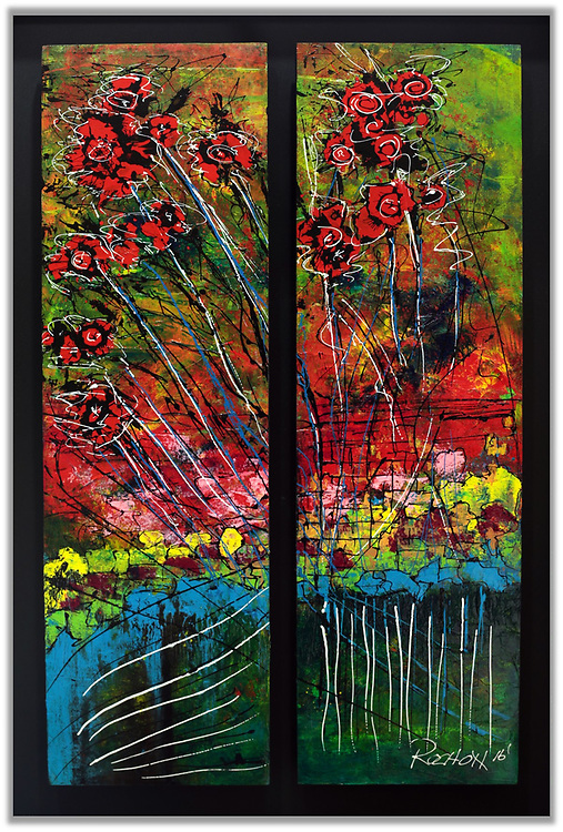 """'ASHLAND in AUTUMN' . 25"""" x 36"""" . Acrylic and Inks on Board within custom frame. <br /> <br /> Artist Notes: <br /> 'Ashland in Autumn' was inspired from a walk on a crisp Autumn day in Lithia park in Ashland Oregon, one of which will forever be etched in my mind - one of the most beautiful places I've ever been. The reflections of the Japanese gardens, or what I perceived as Japanese gardens, was breathtaking. These are my memories, in abstract.<br /> <br /> Numerous acrylic washes and countless, subtle layered glazes create the luminous effects of the glowing gardens.<br /> <br /> A unique, one of a kind piece that could never be duplicated, especially when you consider the custom frame which IS an integral part of the artwork.<br /> <br /> This piece is comprised of two panels, (1/2"""" deep, 18.5 x 28.5), that I've mounted (raised significantly for effect) within a custom frame (photos included). Of course the artwork can be removed and mounted as a buyer may wish but I find the effect dramatic and showcases the art well. I've added a distinctive green inner wooden accent liner within the frame.<br /> <br /> One of my favorite pieces - has an Asian flair to it. Peaceful gardens appeared in the background."""