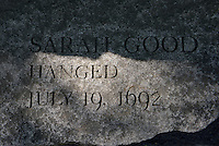 The name of Sarah Good who was accused of being a witch is carved in stone, Salem Massachusetts, New England, North America, USA