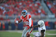 Mississippi Rebels wide receiver Cody Core (88) is unable to make a catch as Vanderbilt Commodores cornerback Torren McGaster (5) defends at Vaught-Hemingway Stadium at Ole Miss in Oxford, Miss. on Saturday, September 26, 2015. (AP Photo/Oxford Eagle, Bruce Newman)